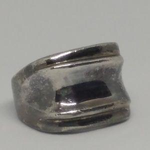 Modernist Sterling Silver Heavy Ring Sz 9